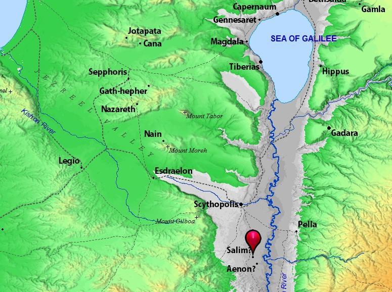 John Baptized in Aenon Near Salim | Leon's Message Board on map of jesus in wilderness, map of palestine in jesus day, map of judea in jesus time, map jesus' baptism and temptation, map of baptism of jesus, map of where was john baptizing, map of where jesus traveled in his lifetime, map of john jesus 1-4, map of where jesus went, map of samaria in jesus time, map of jesus travels, map of the jordan river jesus was baptized, map of galilee in jesus time,
