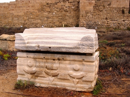 Sarcophagus at Caesarea Maritima. Photo by Leon Mauldin.
