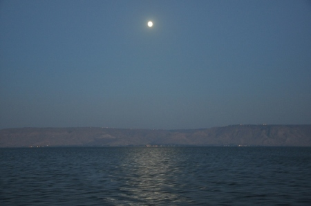 Full moon reflecting on Sea of Galilee. Photo by Leon Mauldin.