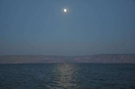 Full moon reflecting on Sea of Galilee. Photo by Leon Mauldin.