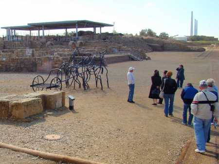 Horses with chariot at hippodrome at Caesarea. Photo by Leon Mauldin.