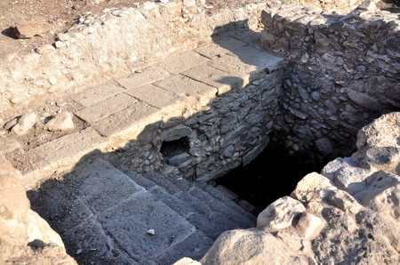 A mikveh at Magdala. Two mikva'ot were found at the site. Photo by Leon Mauldin.