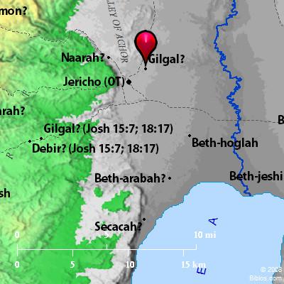 Israel's encampment at Gilgal. BibleAtlas.org