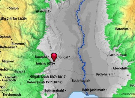Jericho. Map by BibleAtlas.org.