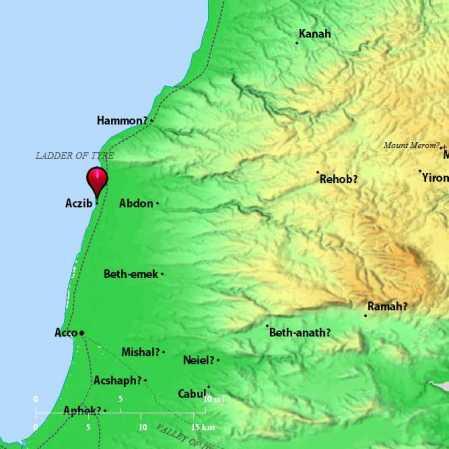 Achzib. Map by BibleAtlas.org.