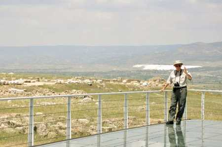 Ferrell Jenkins behind temple. The white spot 6 miles distance is Hierapolis. Photo ©Leon Mauldin.