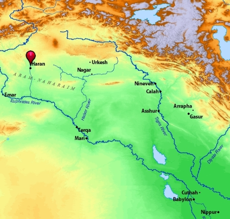 Location of Haran in Mesopotamia. Map by BibleAtlas.org.