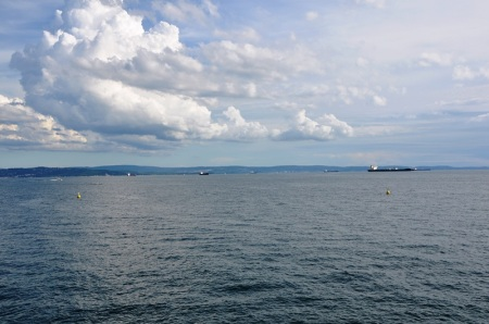 In Trieste, Italy, looking across the Adriatic to Slovenia. Photo by Leon Mauldin.