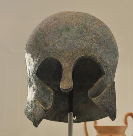 Corinthian Style Helmet. Photo by Leon Mauldin. Metropolitan Museum, NY.