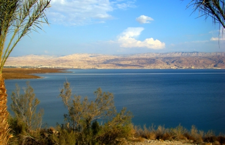 View across Dead Sea, mountains of Moab in distance. Photo by Leon Mauldin.