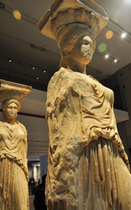 Original Caryatids at Acropolis Museum. Photo by Leon Mauldin.