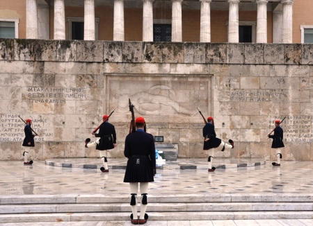 Changing of the Guard at the Royal Palace, Athens, Greece. Photo by Leon Mauldin.