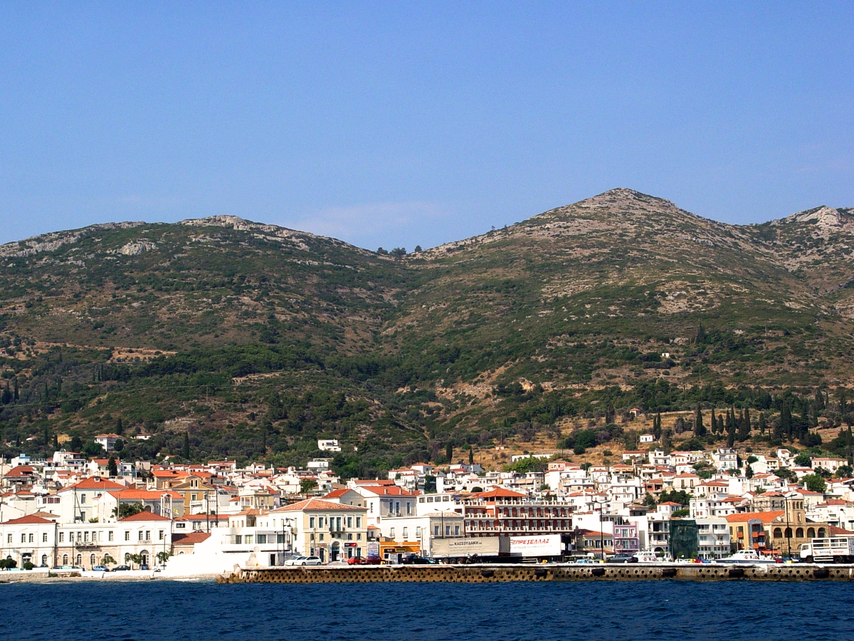 Mountains of Samos as seen from the Aegean Sea. Photo by Leon Mauldin.