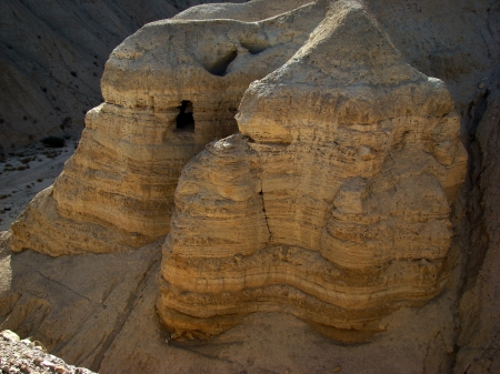 Some of the Qumran Caves where the Dead Sea Scrolls were discovered (1946ff.). Photo by Leon Mauldin.
