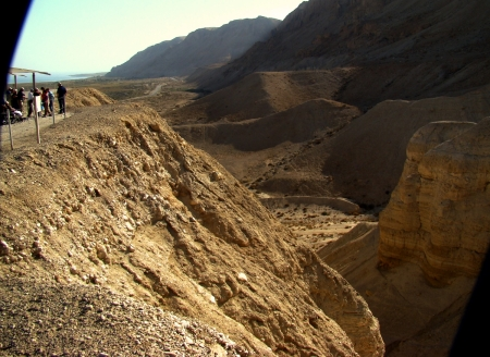 View from Qumran looking south. Dead Sea is in upper left of photo. Photo by Leon Mauldin.