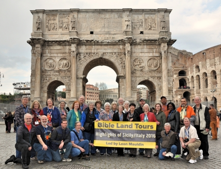 Group photo at Colosseum in Rome.