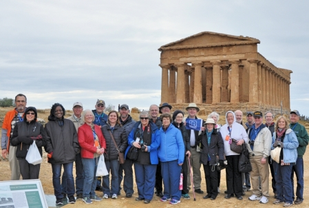 Mauldin Group photo at Temple of Concordia at Agrigento.