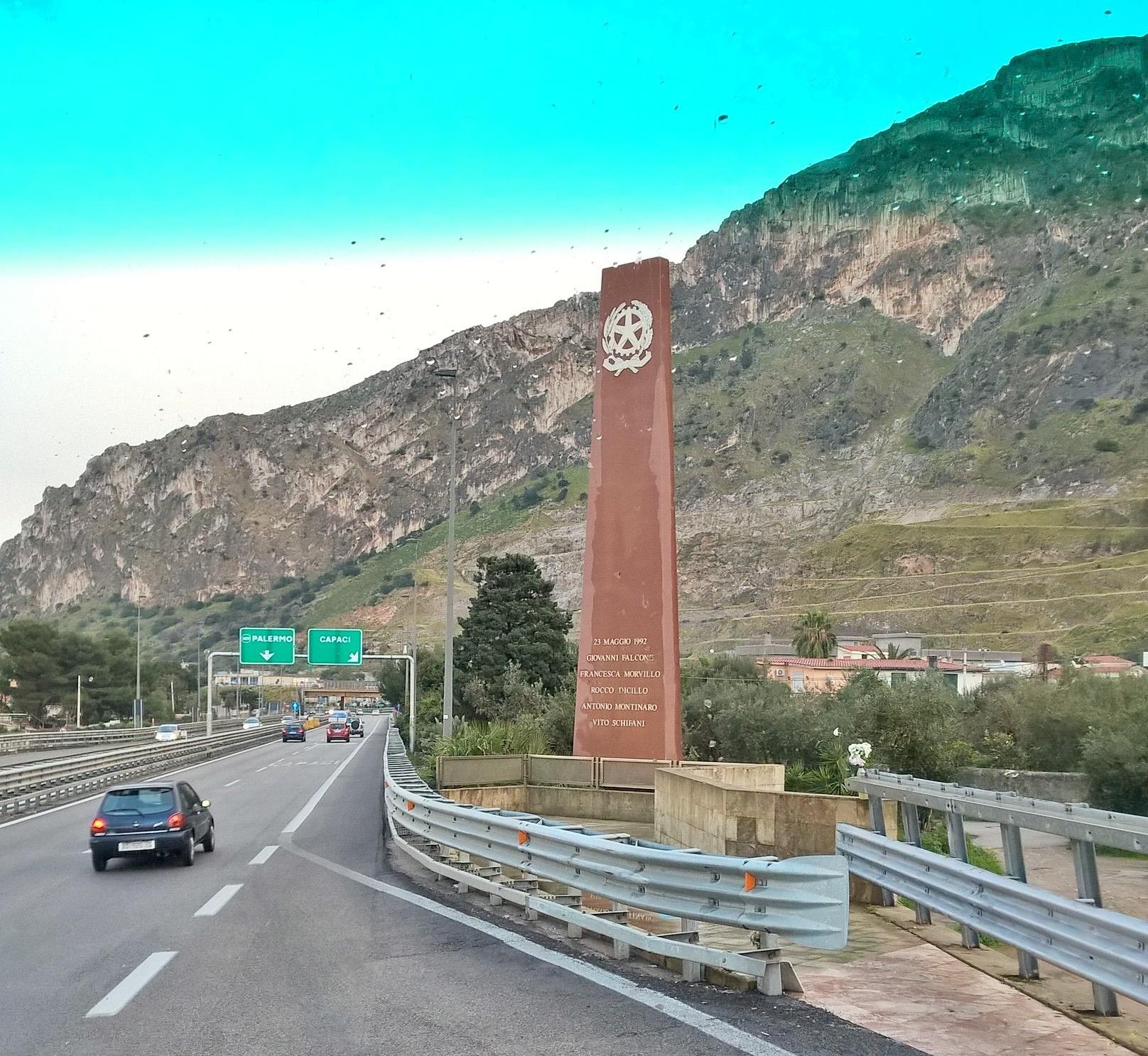 Giovanni Falcone Monument near Palermo, Sicily. Photo by Leon Mauldin