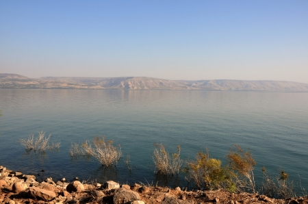 Sea of Galilee, looking east from Capernaum. Photo by Leon Mauldin.