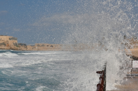 Waves at Caesarea. Photo by Leon Mauldin.