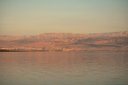 Dead Sea at Sunset. Looking east to the mountains of Moab. Photo by Leon Mauldin.