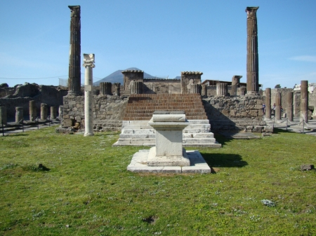 Temple of Apollo, Pompeii, Italy. Photo by Leon Mauldin. Mt. Vesuvius may been seen the the background.