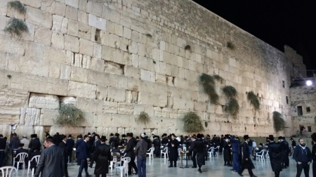 "In Jerusalem, ""Wailing Wall"" at night. This was part of the retaining wall that supported the temple complex. Photo by Leon Mauldin."