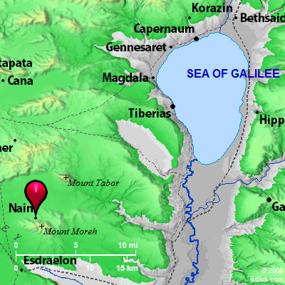 Nain in Galilee. BibleAtlas.com.